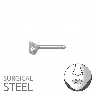 High Polish Surgical Steel Butterfly Nose Studs With Ball And Crystal - 316L Surgical Grade Stainless Steel Labrets & Barbells SD37451