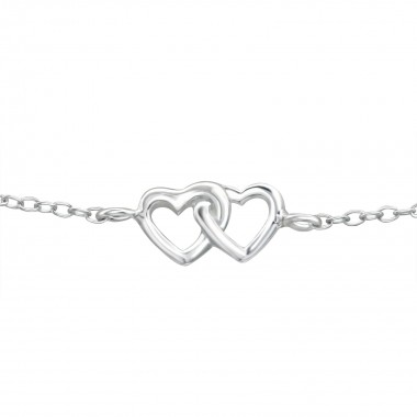 Double Heart - 925 Sterling Silver Kids Bracelets SD38454