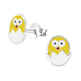 Egg And Chick - 925 Sterling Silver Kids Ear Studs SD26296