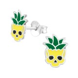 Pineapple Skull - 925 Sterling Silver Kids Ear Studs SD37066