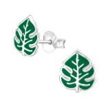 Leaf - 925 Sterling Silver Kids Ear Studs SD38496