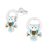 Owl - 925 Sterling Silver Kids Ear Studs SD38497