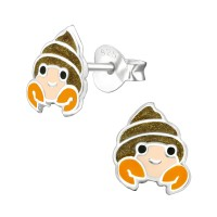 Hermit Crab - 925 Sterling Silver Kids Ear Studs SD38528