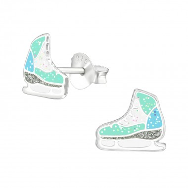 Ice Skating Shoes - 925 Sterling Silver Kids Ear Studs SD38576