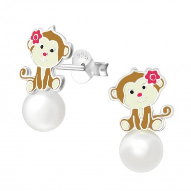 Monkey - 925 Sterling Silver Kids Ear Studs SD38580