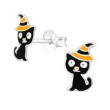 Cat - 925 Sterling Silver Kids Ear Studs SD38668