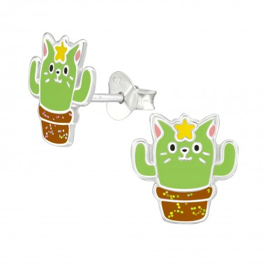 Cactus Cat - 925 Sterling Silver Kids Ear Studs SD38671