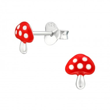 Mushroom - 925 Sterling Silver Kids Ear Studs SD39299
