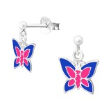 Hanging Butterfly - 925 Sterling Silver Kids Ear Studs SD39323