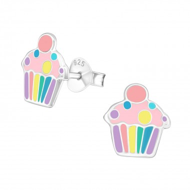 Cupcake - 925 Sterling Silver Kids Ear Studs SD39856