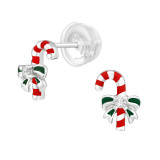 Candy Canes - 925 Sterling Silver Kids Ear Studs SD40384