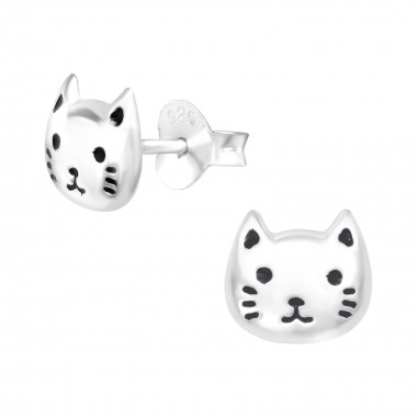 Cat - 925 Sterling Silver Kids Ear Studs SD42545