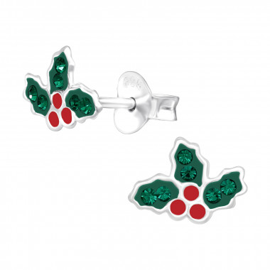 Holly Leaf - 925 Sterling Silver Kids Ear Studs SD42776