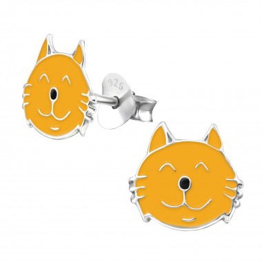 Cat - 925 Sterling Silver Kids Ear Studs SD959