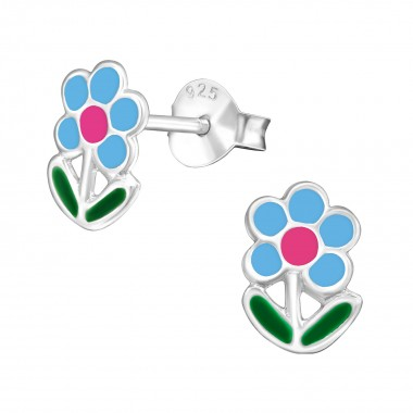 Blue flower - 925 Sterling Silver Kids Ear Studs SD977