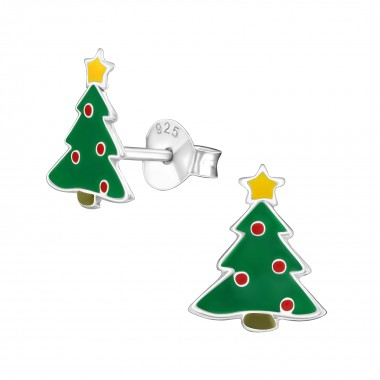 Chistmas Tree - 925 Sterling Silver Kids Ear Studs SD989