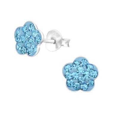 Flower - 925 Sterling Silver Kids Ear Studs with Crystal SD1505