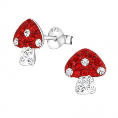 Mushroom - 925 Sterling Silver Kids Ear Studs with Crystal SD1512