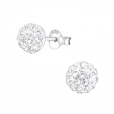Round - 925 Sterling Silver Kids Ear Studs with Crystal SD1514