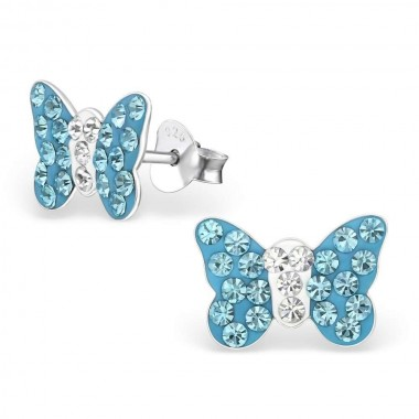 Butterfly - 925 Sterling Silver Kids Ear Studs with Crystal SD2255