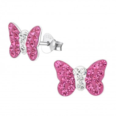 Butterfly - 925 Sterling Silver Kids Ear Studs with Crystal SD2261