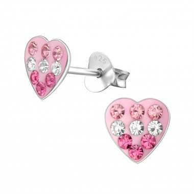 Heart - 925 Sterling Silver Kids Ear Studs with Crystal SD2279