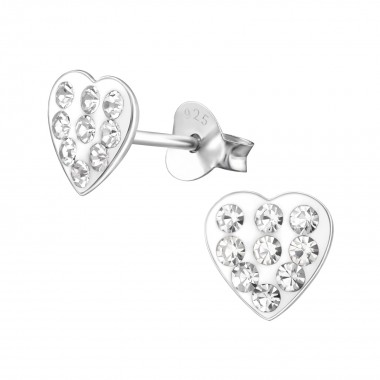 Heart - 925 Sterling Silver Kids Ear Studs with Crystal SD2280