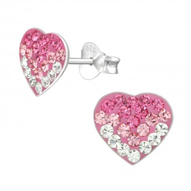 Heart - 925 Sterling Silver Kids Ear Studs with Crystal SD2284