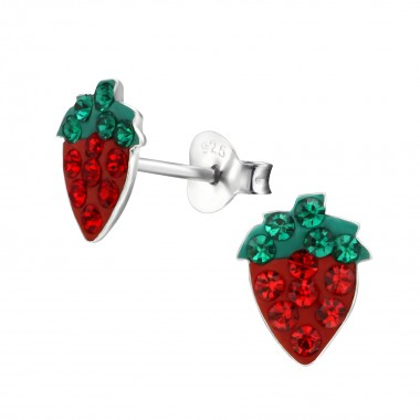 Strawberry - 925 Sterling Silver Kids Ear Studs with Crystal SD2290