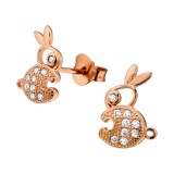 Rabbit - 925 Sterling Silver Kids Ear Studs with Crystal SD23559