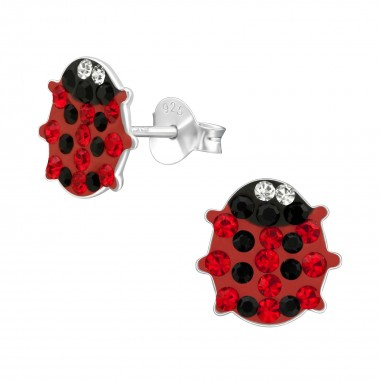 Lady Bug - 925 Sterling Silver Kids Ear Studs with Crystal SD2362