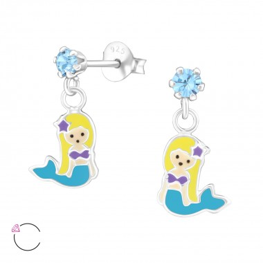 Hanging Mermaids - 925 Sterling Silver Kids Ear Studs with Crystal SD32844