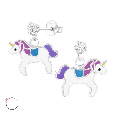 Hanging Unicorn - 925 Sterling Silver Kids Ear Studs with Crystal SD32846
