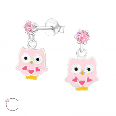 Hanging Owl - 925 Sterling Silver Kids Ear Studs with Crystal SD32847