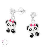 Hanging Panda - 925 Sterling Silver Kids Ear Studs with Crystal SD32851