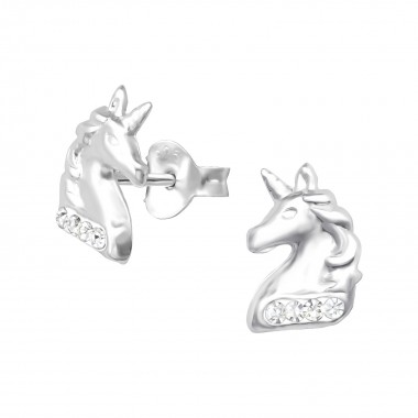 - 925 Sterling Silver Kids Ear Studs with Crystal SD33690