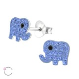 Elephant - 925 Sterling Silver Kids Ear Studs with Crystal SD34567