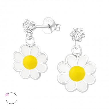 Hanging Flower - 925 Sterling Silver Kids Ear Studs with Crystal SD37112