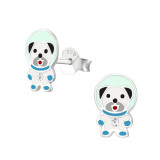 Dog Space - 925 Sterling Silver Kids Ear Studs with Crystal SD37211