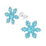 Snowflake - 925 Sterling Silver Kids Ear Studs with Crystal SD37652