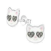 Cat - 925 Sterling Silver Kids Ear Studs with Crystal SD38529