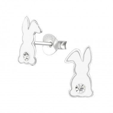 Rabbit - 925 Sterling Silver Kids Ear Studs with Crystal SD38530