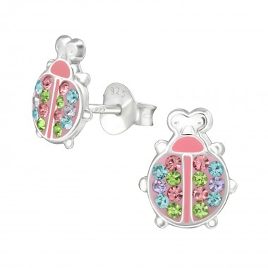 Ladybug - 925 Sterling Silver Kids Ear Studs with Crystal SD38545