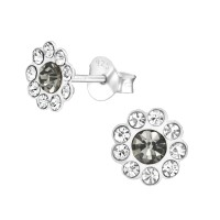 Flower - 925 Sterling Silver Kids Ear Studs with Crystal SD38582