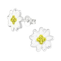 Flower - 925 Sterling Silver Kids Ear Studs with Crystal SD38584