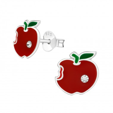 Apple - 925 Sterling Silver Kids Ear Studs with Crystal SD38627
