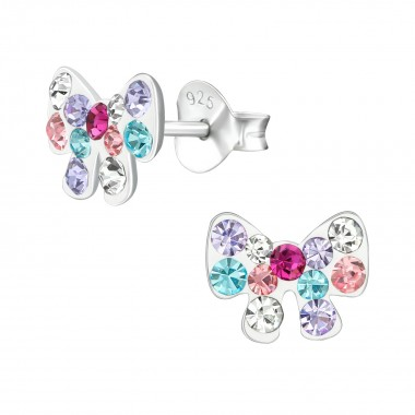 Bow - 925 Sterling Silver Kids Ear Studs with Crystal SD38675