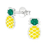 Pineapple - 925 Sterling Silver Kids Ear Studs with Crystal SD38676