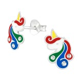 Unicorn - 925 Sterling Silver Kids Ear Studs with Crystal SD38700