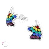 Unicorn - 925 Sterling Silver Kids Ear Studs with Crystal SD38702